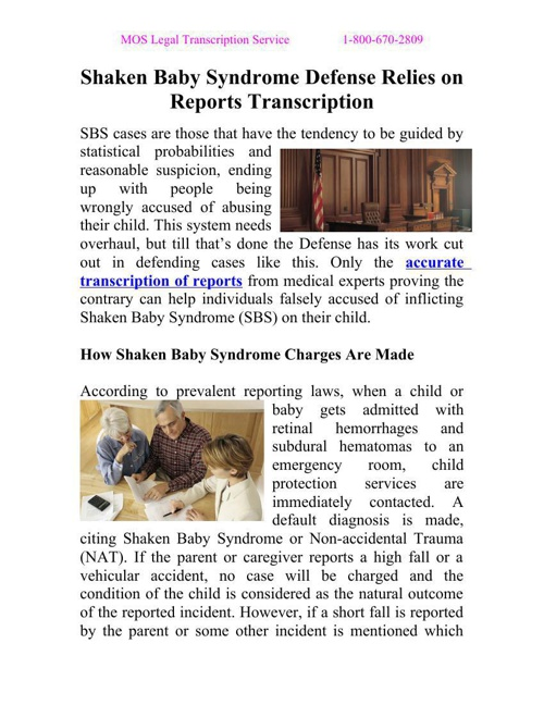 Shaken Baby Syndrome Defense Relies on Reports Transcription