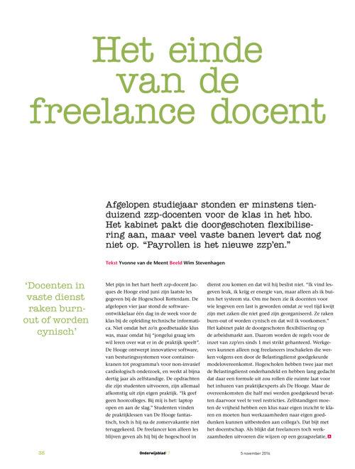 Het einde van de freelance docent