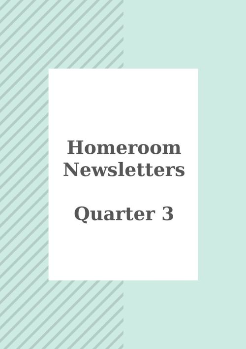 Homeroom Newsletters Quarter 3