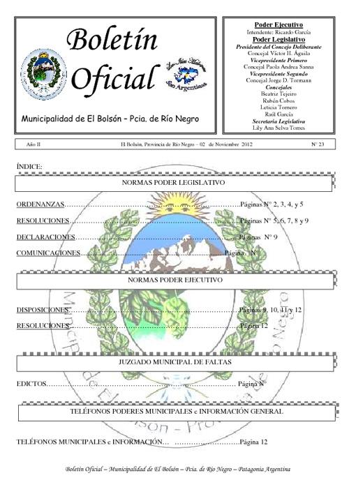 Boletín Oficial Nº 23 Octubre 2012