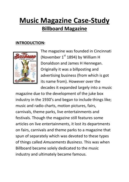 Music Magazine Caste-study