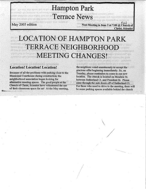 HPT Newsletter May 2003