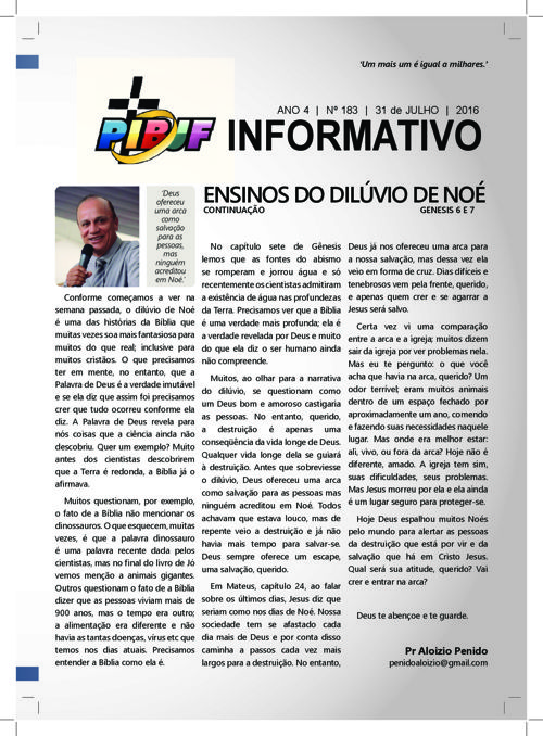INFORMATIVO PIBJF 31.07.2016