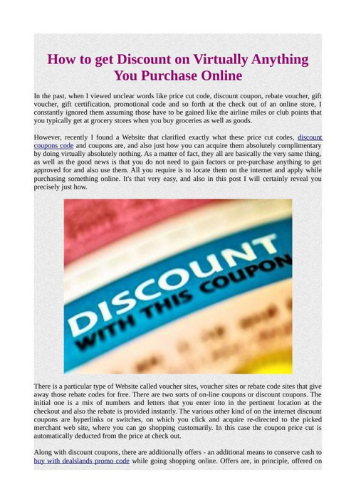 How to get Discount on Virtually Anything You Purchase Online