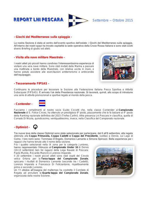REPORT LNI PESCARA sett-Ott 2015