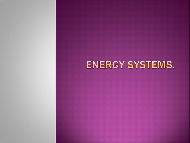 Year 10 Physical Education: Energy Systems