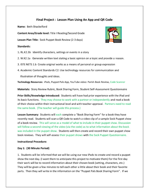 Revised Sock Puppet Lesson Plan/Grade 2