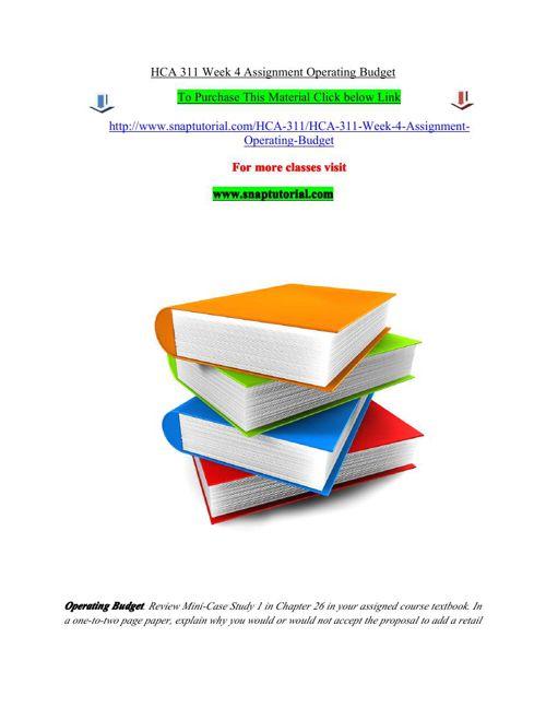 HCA 311 Week 4 Assignment Operating Budget