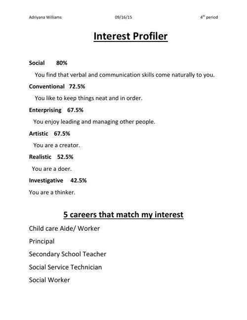 Career Key Interest Profile Student Samples
