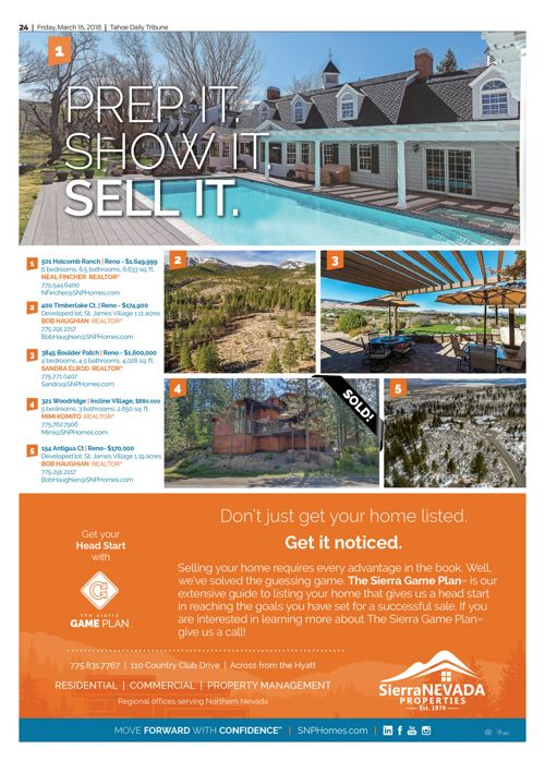 SNP homes for sale in the Tahoe Tribune March 16