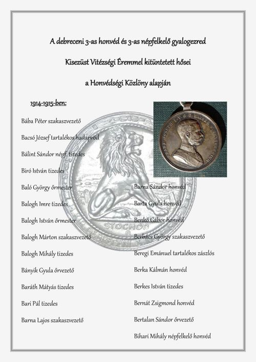 II. osztályú vitézségi éremmel kitüntetettek