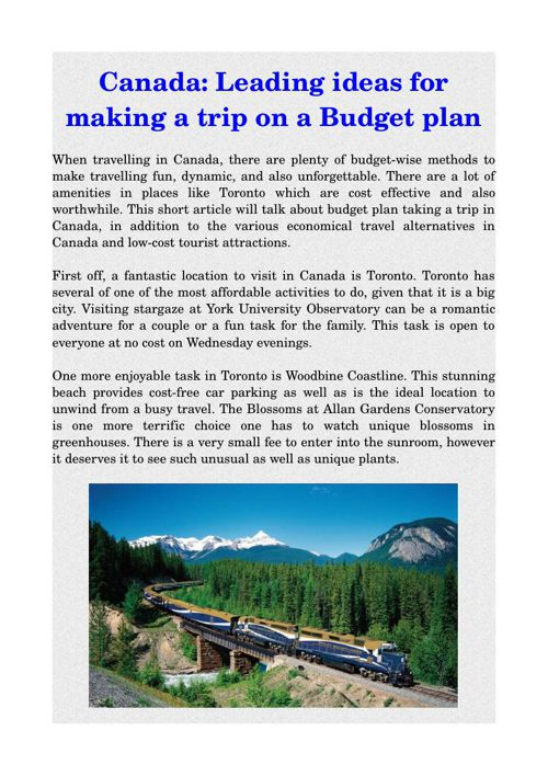 Canada: Leading ideas for making a trip on a Budget plan