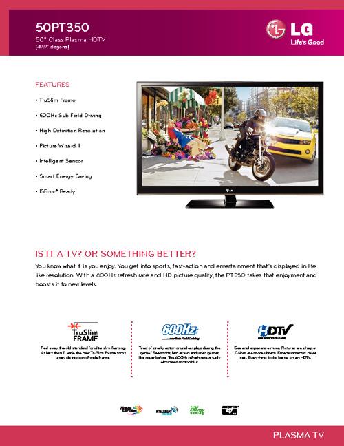 LG PLASMA TV 50PT350