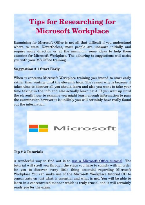 Tips for Researching for Microsoft Workplace