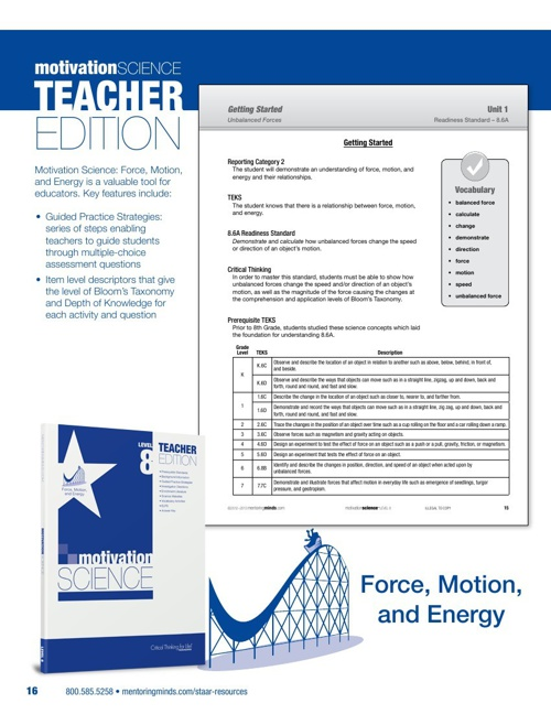 STAAR Motivation Science Level 8 Force TE