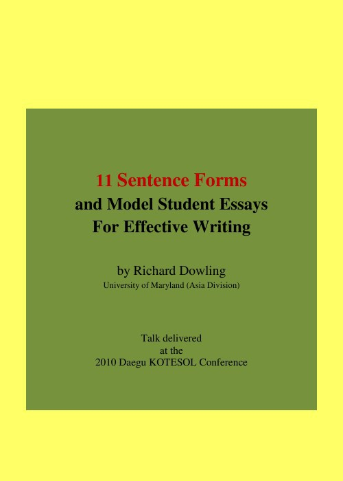 11 Sentence Forms and Model Student Essays for Effective Writing