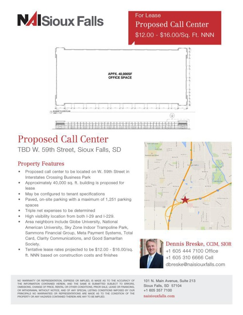 Available For Lease - Proposed 40,000 SF Call Center