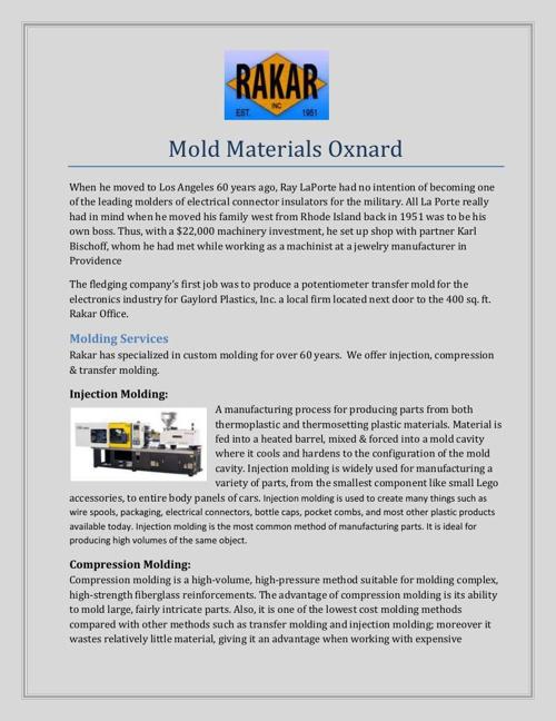 Mold Materials Oxnard