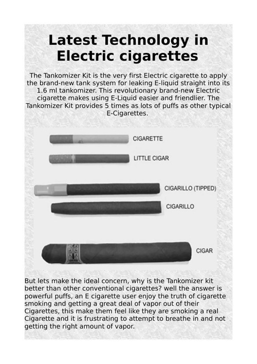 Latest Technology in Electric cigarettes