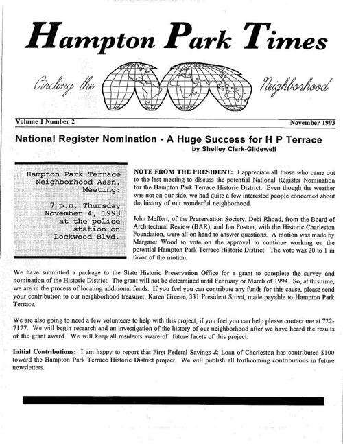 HPT Newsletter November 1993