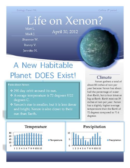 Ecology PBL (Xenon) Matt L, Mark J, Shannon W, Ronny V.