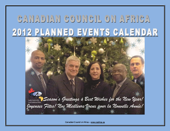 CCAfrica - 2012 PLANNED EVENTS CALENDAR