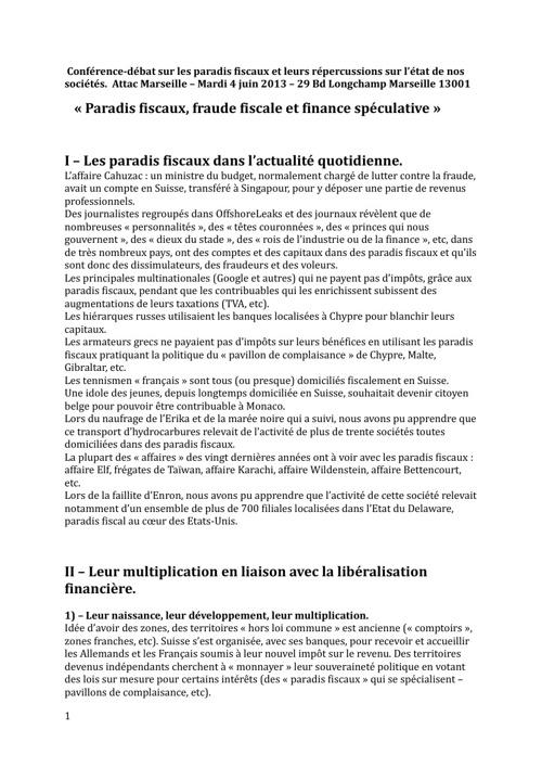 «Paradis fiscaux, fraude fiscale et finance spéculative»