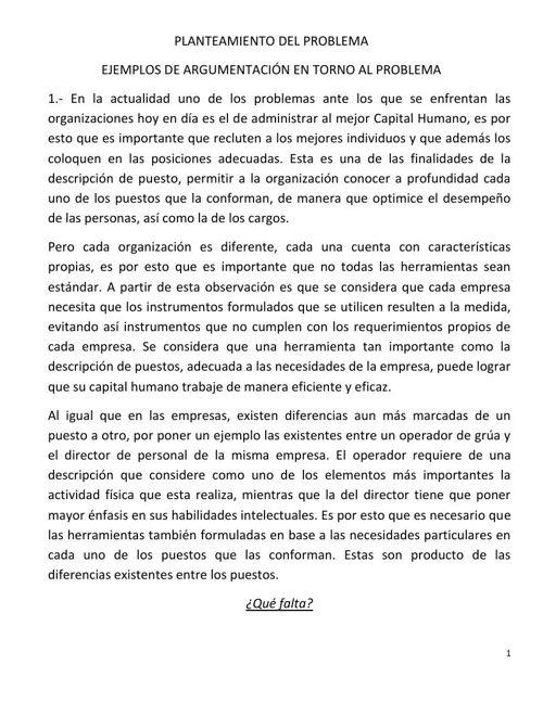 EJEMPLO DE ARGUMENTACIÓN EN TORNO AL PROBLEMA