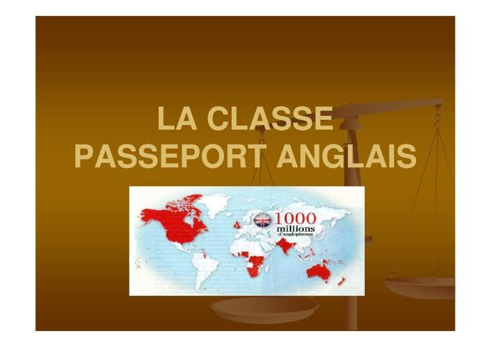 La classe Passeport anglais - présentation aux 5e