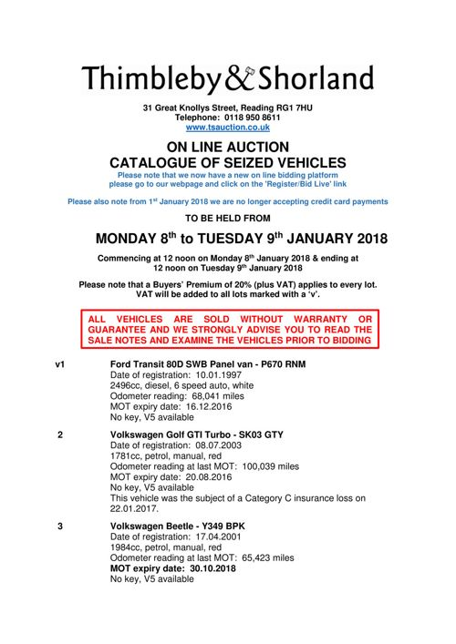 Online Seized Vehicle Auction Catalogue
