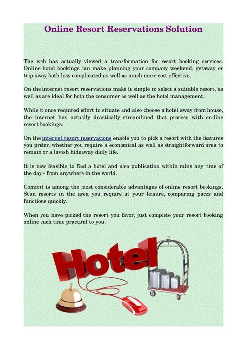 Online Resort Reservations Solution