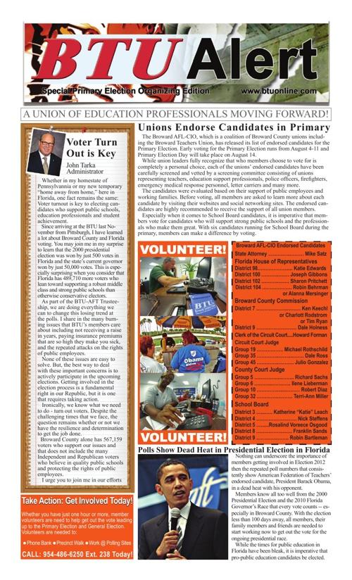 BTU Alert -  Special Primary Election Organizing Edition