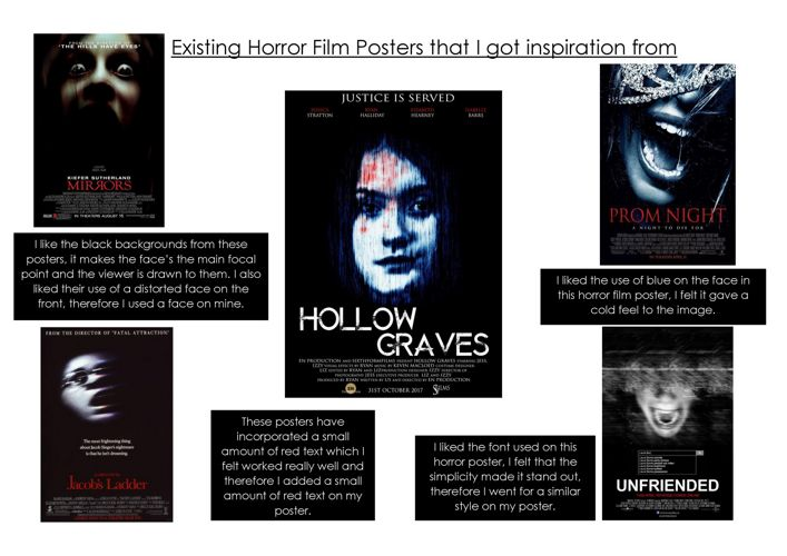 Existing Horror Film Posters that I got inspiration from