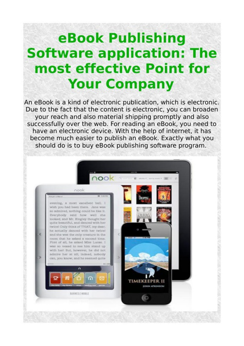 eBook Publishing Software application: The most effective Point