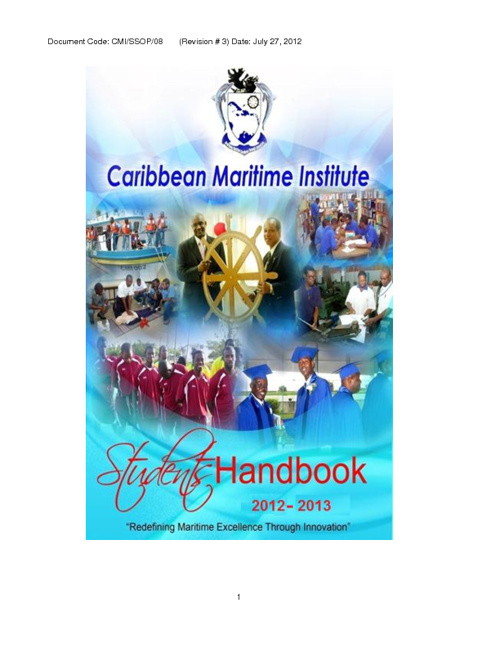 Caribbean Maritime Institute Handbook 2012 - 2013