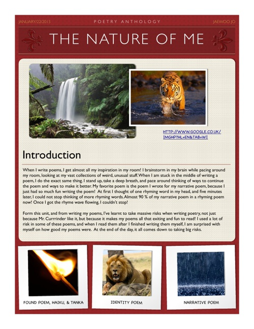 The Nature of Me Poetry Anthology