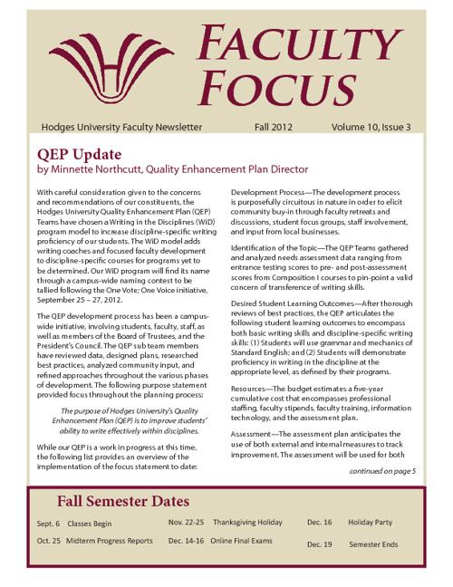 Faculty Focus - Fall 2012