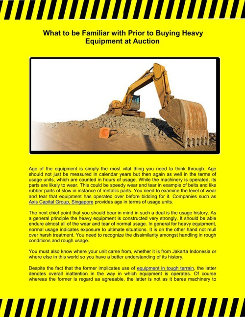 What to be Familiar with Prior to Buying Heavy Equipment at Auct