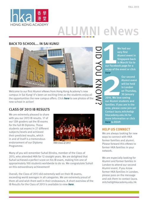 Alumni eNews - 2013 Fall