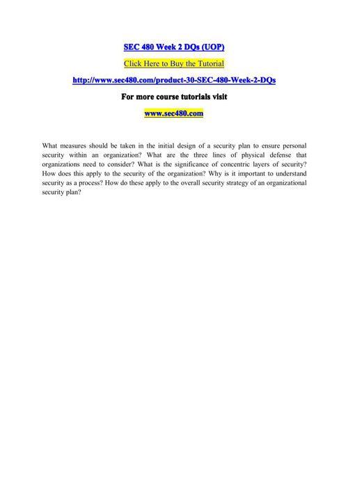 SEC 480 Week 2 DQs (UOP)