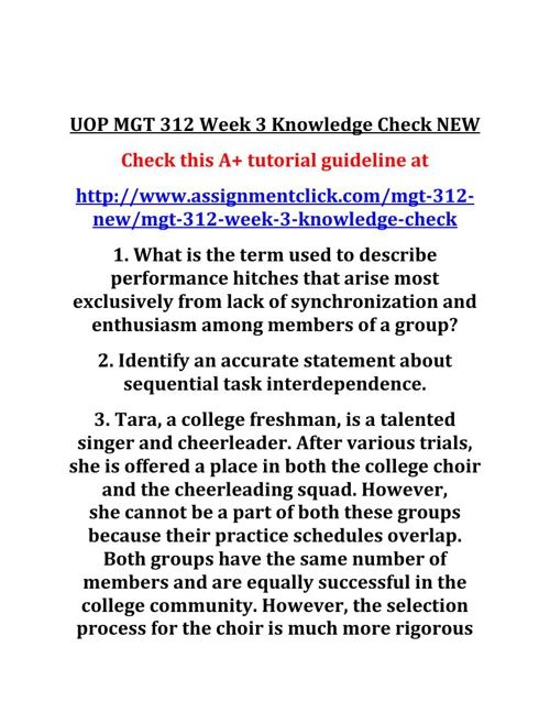UOP MGT 312 Week 3 Knowledge Check NEW