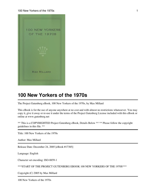 THE 100 NEW YORKERS ON 1970