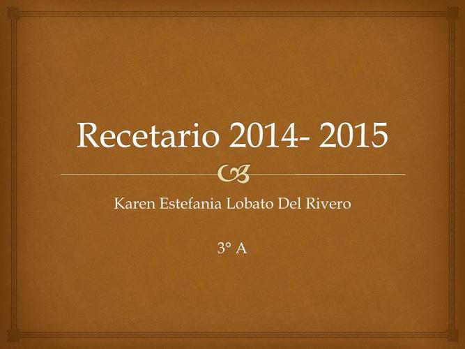 Recetario 2014- 2015