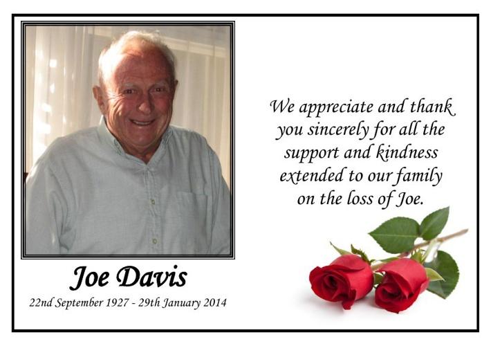 Memorial Card  for Joe Davis