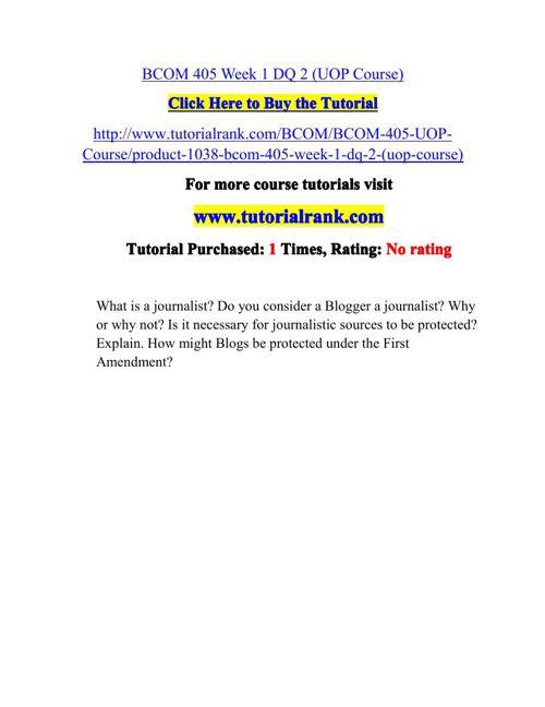 BCOM 405 Potential Instructors / tutorialrank.com
