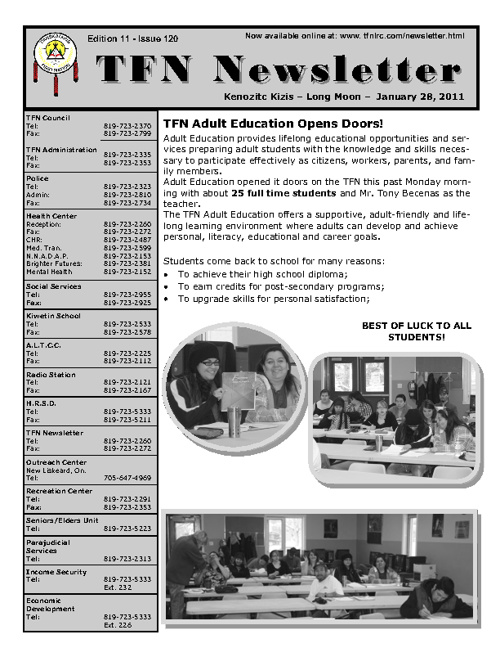 TFN Newsletter - January 28, 2011