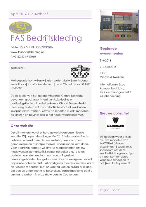 FAS Bedrijfskleding nieuwsbrief april 2016