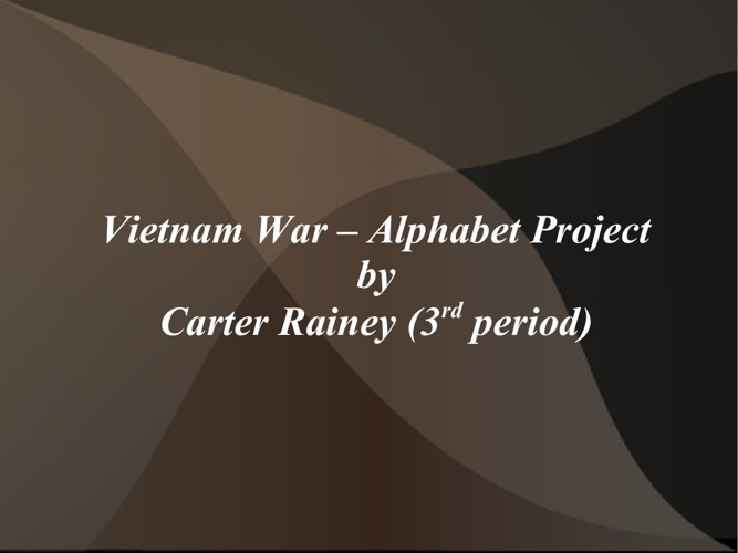 Carter Rainey ABC Project, Portion 1