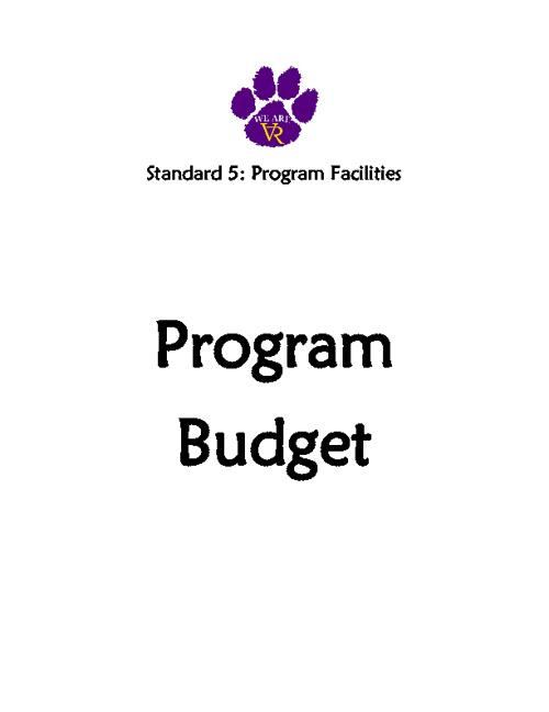 Standard 5: #44 #45 Program Budget
