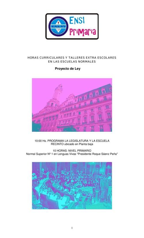 Proyecto de Ley, presentado por 6° A, B y C en la Legislatura